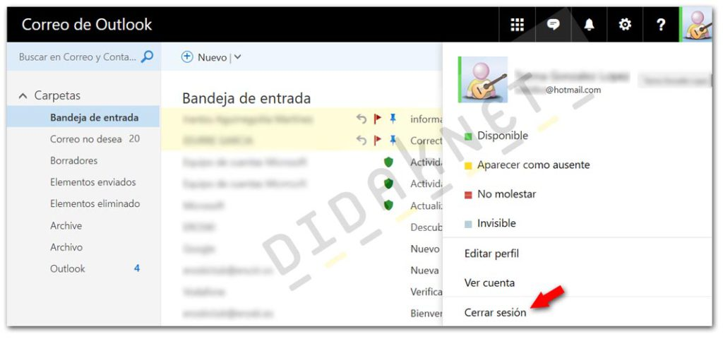 didaknet Como cerrar Sesion PC Hotmail Outlook